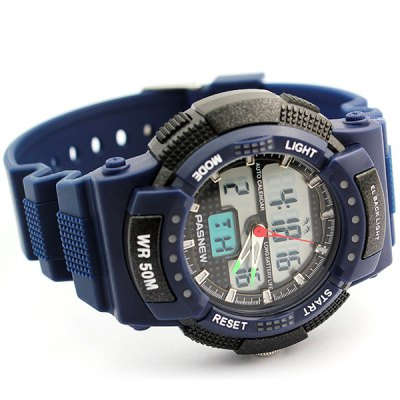 Pasnew PES - 361 Military Water Resistant Sports LED Watch Double Time with Day Date Function
