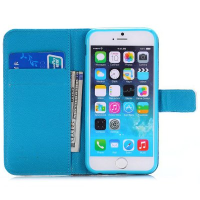 Фотография Flower Leaf Style PU Leather TPU Material Full Body Case with Stand Credit Card Holder for iPhone 6  -  4.7 inches