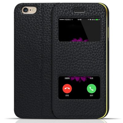 Гаджет   Moby Ultra - thin Anti - dust Leather Alloy Opening View Window Gold Frame Case for iPhone 6  -  4.7 inch iPhone Cases/Covers