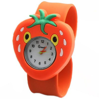 Quartz Strawberry Pattern Pat Watch Rubber Wristband for Children