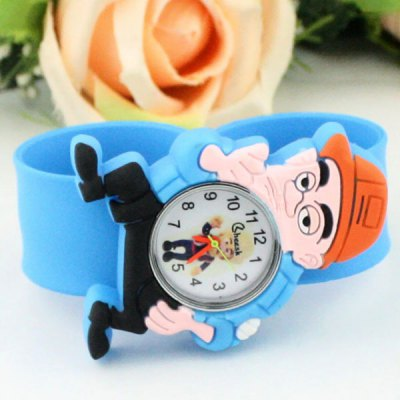 Фотография Children Quartz Pat Watch Rubber Strap with Cartoon Bald Strong Pattern