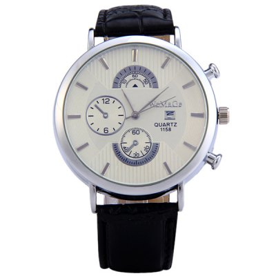 WoMaGe 1158 Round Dial Quartz Watch for Male Delicate Water Resistant PU Men Wristwatch