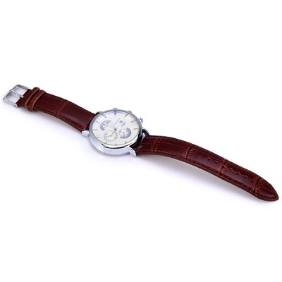 Фотография WoMaGe 1158 Round Dial Quartz Watch for Male Delicate Water Resistant PU Men Wristwatch