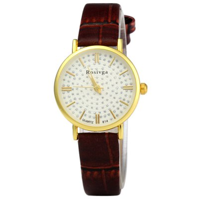 Rosivga 814 Women Rhinestone Analog Quartz Watch Shiny Golden Round Dial Lady WatchWomens Watches<br>Rosivga 814 Women Rhinestone Analog Quartz Watch Shiny Golden Round Dial Lady Watch<br><br>Brand: Rosivga<br>Watches categories: Female table<br>Available color: Black, White, Brown, Coffee<br>Style : Retro<br>Movement type: Quartz watch<br>Shape of the dial: Round<br>Display type: Analog<br>Case material: Stainless steel<br>Case color: Transparent color<br>Band material: PU leather<br>Clasp type: Pin buckle<br>The dial thickness: 0.6 cm<br>The dial diameter: 2.3 cm<br>The band width: 1.1 cm<br>Product weight: 0.019 kg<br>Package weight: 0.04 kg<br>Product size (L x W x H) : 20.5 x 2.2 x 0.5 cm / 8.06 x 0.86 x 0.20 inches<br>Package size (L x W x H): 21 x 3 x 1 cm / 8.25 x 1.18 x 0.39 inches<br>Package contents: 1 x Rosivga 814 Rhinestone Analog Quartz Watch with Golden Round Dial
