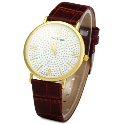 Rosivga 814 Men' Rhinestone Analog Quartz Watch Shiny Golden Round Dial Watch