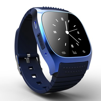 RWATCH M26s Bluetooth 4.0 Smart Watch BraceletSmart Watches<br>RWATCH M26s Bluetooth 4.0 Smart Watch Bracelet<br><br>Brand: Rwatch<br>Bluetooth version: Bluetooth 4.0<br>Waterproof: No<br>Groups of alarm: 5 sets<br>Alert type: Ring,Vibration<br>Screen: LCD<br>Battery Capacity: 230mAh / 3.7V<br>People: Unisex watch<br>Bluetooth working range: About 15M<br>Functions: Anti-lost alert,Camera remote,Dialing,Music Player,Notification of app,Pedometer,Phone book,Sleep monitoring<br>Shape of the dial: Rectangle<br>Case material: Metal<br>Band material: TPU<br>Language: English,Others<br>Available color: Black,Blue,Gold,Silver,White<br>The dial thickness: 0.7 cm / 0.28 inches<br>The dial diameter: 1.9 cm / 0.75 inches<br>The band width: 1.9 cm / 0.75 inches<br>Product size (L x W x H): 27.00 x 4.50 x 1.00 cm / 10.63 x 1.77 x 0.39 inches<br>Package size (L x W x H): 13.00 x 9.00 x 7.00 cm / 5.12 x 3.54 x 2.76 inches<br>Product weight: 0.055 kg<br>Package weight: 0.220 kg<br>Package Contents: 1 x Smart Watch, 1 x Charging Cable, 1 x Chinese and English Manual
