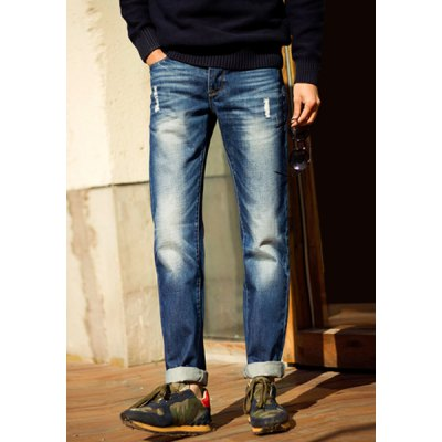 Гаджет   Modern Style Zipper Fly Hole and Pocket Embellished Slimming Straight Leg Men