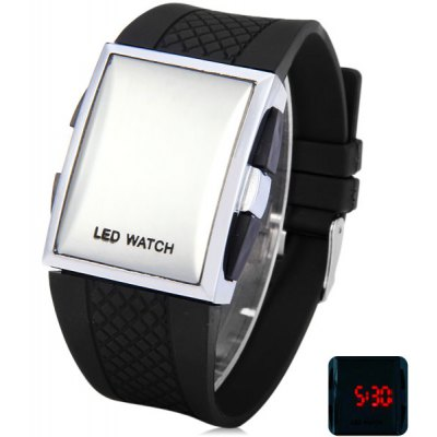 Mirror Dial LED Silicone Electronic Watch with Square Case for Male