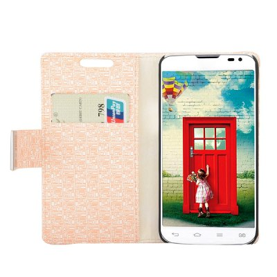 Maze Texture Full Body PU Leather Case with Credit Card Slot Stand for LG L90 D405
