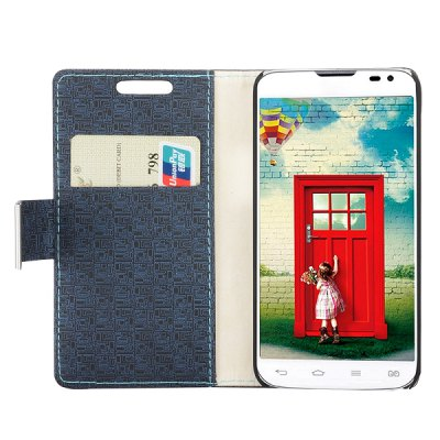 Фотография Maze Texture Full Body PU Leather Case with Credit Card Slot Stand for LG L90 D405