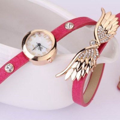 Female Quartz Wring Watch Round Dial Leather Watchband