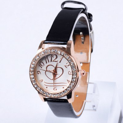ФОТО Women Diamond Quartz Watch with Heart - shaped Pattern Round Dial Leather Strap