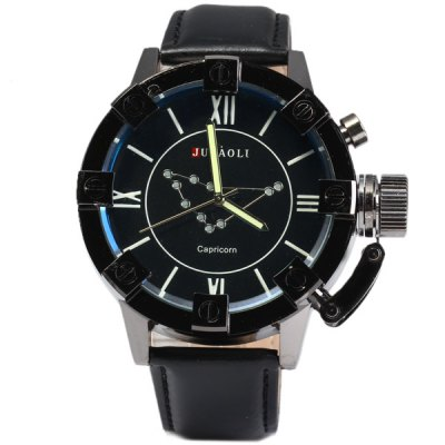 Jubaoli Male Luminous Quartz Watch with Constellation Leather Strap Fashion Round Dial