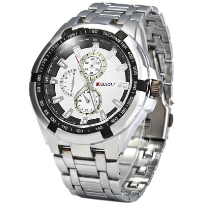Jubaoli 8018 Decorative Sub - dials Male Quartz Watch Steel Band Round Dial