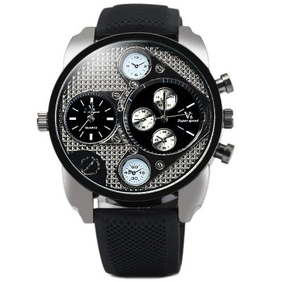 V6 V0235 Dual - movt Fashion Round Dial Male Quartz Watch Rubber Band for Men