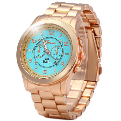 ФОТО Geneva Map Design Unisex Quartz Watch Steel Band Round Dial with Date Function