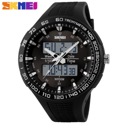Skmei 1066 Multifunctional LED Military Watch Double Display Alarm Stopwatch Water Resistant