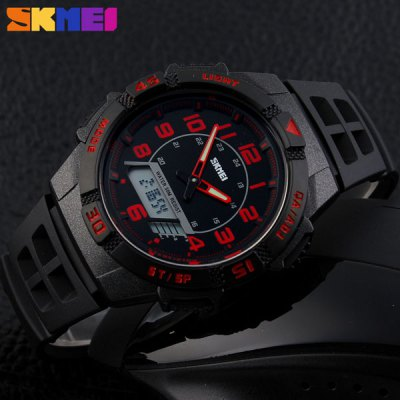 Гаджет   Skmei 1065 Multifunctional LED Military Watch Double Display Alarm 5ATM Water Resistant Sports Watches