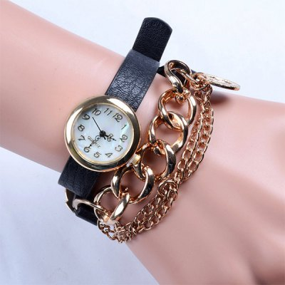 Female Analog Quartz Watch Round Dial Long Leather + Steel Band