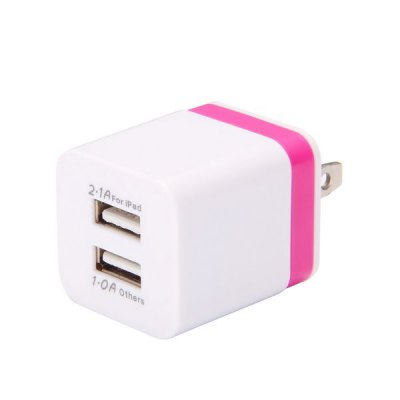 Гаджет   US Plug Dual USB Port 2.1A Travel Power Adapter  -  100  -  240V Samsung Chargers