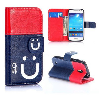 Smile Face Pattern PU Leather Case with Credit Card Holder Stand for Samsung Galaxy S4 Mini i9190