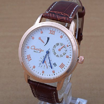 Chaxigo 9962 - 3 Date Display Quartz Watch Leather Band Round Dial for Men