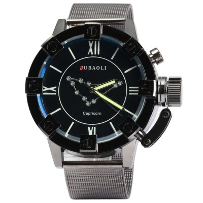 Фотография Jubaoli Luminous Male Quartz Watch with Constellation Steel Net Strap Fashion Round Dial