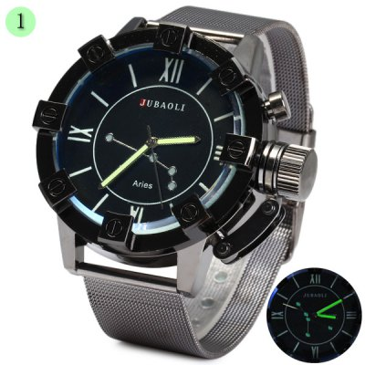 Jubaoli Luminous Male Quartz Watch with Constellation Steel Net Strap Fashion Round Dial