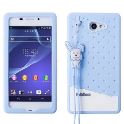 Fabitoo Lanyard Design Silicone Back Cover Case for Sony Xperia M2 S50h