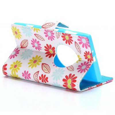 Фотография Flower Leaf Pattern PU Leather Case with Credit Card Holder Stand for Nokia Lumia 1020