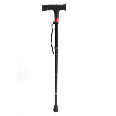 Rechargeable FM Radio Aluminium Alloy Walking Stick + LED Torch Outdoor Supplies