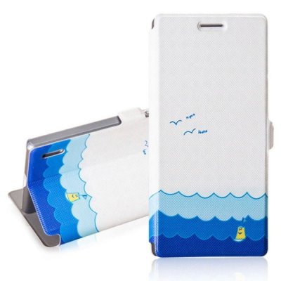 Fabitoo Summer Ocean Pattern PU and PC Material Cover Case with Stand for Huawei Ascend P7