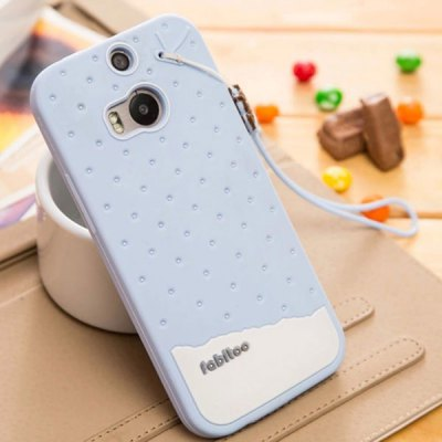 Fabitoo Lanyard Design Silicone Back Cover Case for HTC One 2 M8