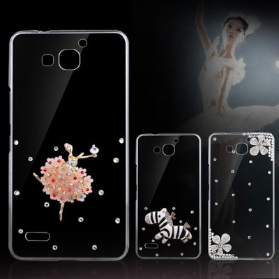 Гаджет   Fabitoo Diamante Pink Butterfly Flower Pattern PC Transparent Back Cover Case for Huawei Honor 3X Other Cases/Covers