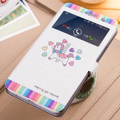 Fabitoo Heart Hobbyhorse Pattern PU and PC Material Cover Case for Huawei Honor 3X