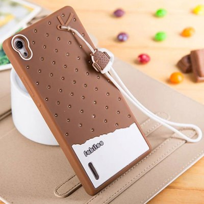 Fabitoo Lanyard Design Silicone Back Cover Case for Huawei Ascend P7