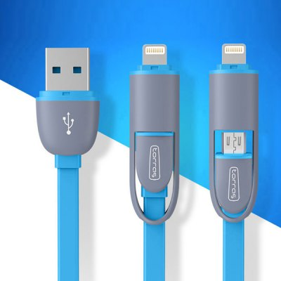Гаджет   Torras 1m Practical Micro USB Interface Charge and Sync Flat Cable with 8 Pin Adapter iPhone Cables & Adapters