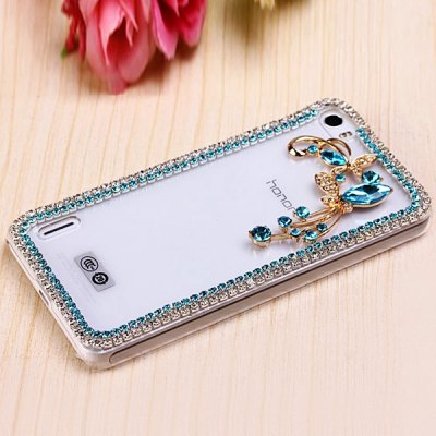 Гаджет   Fabitoo Diamante Blue Butterfly Flower Pattern PC Transparent Back Cover Case for Huawei Honor 6 Other Cases/Covers