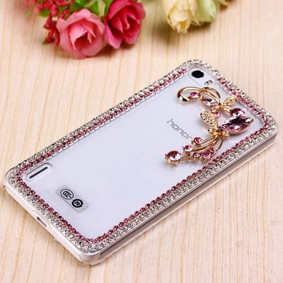 Fabitoo Diamante Pink Butterfly Flower Pattern PC Transparent Back Cover Case for Huawei Honor 6