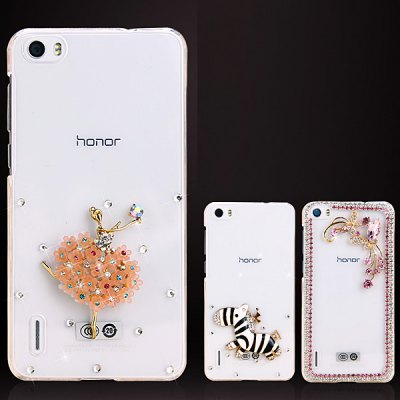 Фотография Fabitoo Diamante Pink Butterfly Flower Pattern PC Transparent Back Cover Case for Huawei Honor 6