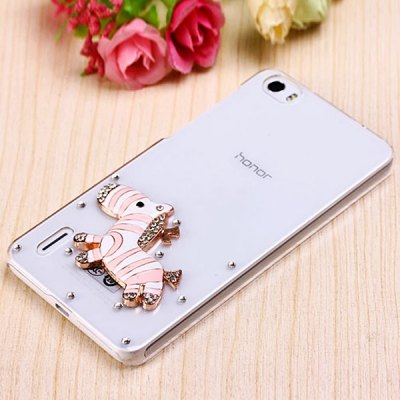 Fabitoo Diamante Pink Hobbyhorse Pattern PC Transparent Back Cover Case for Huawei Honor 6