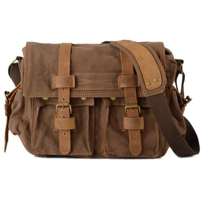 Retro Canvas and Belt Design Men's Messenger Bag