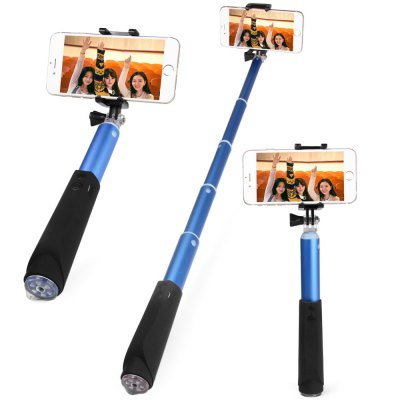 Bluetooth Wireless Self Timer Stretch Camera Monopod with 270 Degrees Rotatable Phone Clip Stand