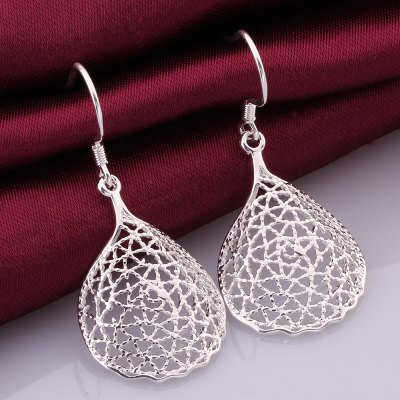 Pair of Chic Women's Carve Openwork Design Earrings