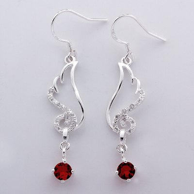 Pair of Chic Red Zircon Embellished Pendant Earrings