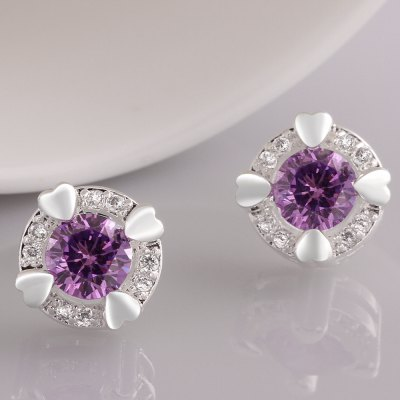 Simple Design Zircon Embellished Round Earrings For Women