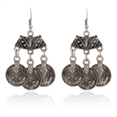 Pair of Classic Women's Flower Pattern Round Pendant Earrings