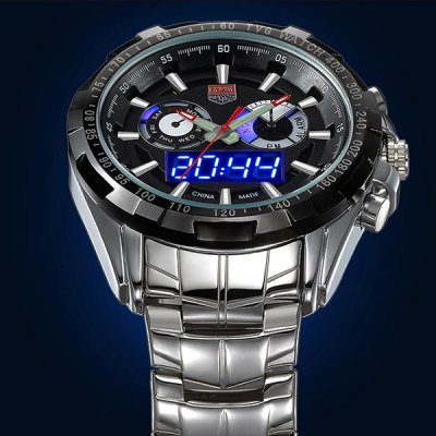 Tvg 579 Male Dual Time LED Watch Military Outdoor Sports Luminous WristwatchSports Watches<br>Tvg 579 Male Dual Time LED Watch Military Outdoor Sports Luminous Wristwatch<br><br>People: Male table<br>Watch style: Fashion&amp;Casual,LED,Military,Outdoor Sports<br>Available color: Black,White<br>Shape of the dial: Round<br>Movement type: Double-movtz<br>Display type: Analog-Digital<br>Case material: Stainless Steel<br>Band material: Stainless Steel<br>Clasp type: Folding clasp with safety<br>Special features: Alarm Clock,Date,Day,Luminous<br>The dial thickness: 1.4 cm / 0.55 inches<br>The dial diameter: 4.4 cm / 1.73 inches<br>The band width: 2.0 cm / 0.79 inches<br>Product weight: 0.165 kg<br>Package weight: 0.215 kg<br>Product size (L x W x H): 16.00 x 4.40 x 1.40 cm / 6.3 x 1.73 x 0.55 inches<br>Package size (L x W x H): 17.00 x 5.40 x 2.40 cm / 6.69 x 2.13 x 0.94 inches<br>Package Contents: 1 x Tvg 579 Watch