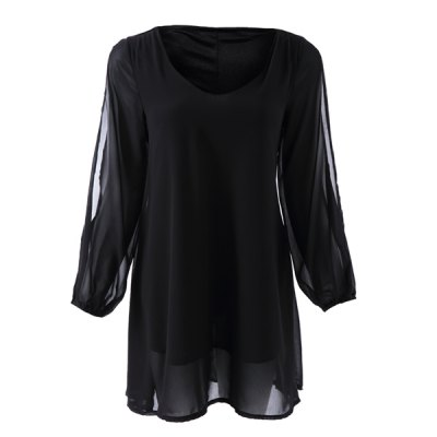 Stylish V-Neck 3/4 Sleeve Hollow Out Chiffon Dress For Women
