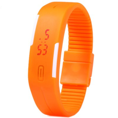 LED Watch Date Red Digital Rectangle Dial Rubber Band